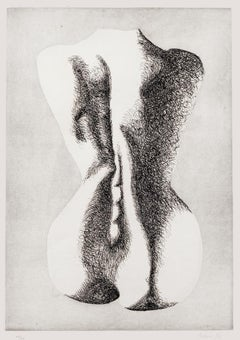 Silhouette of Woman - Original Etching by Giacomo Porzano - 1970s