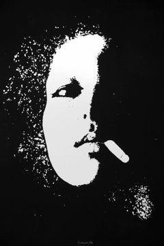 Smoker in Black - Original Etching by Giacomo Porzano - 1972