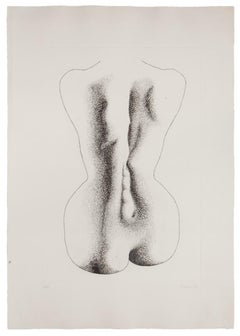 Woman from the Back - Original Etching by Giacomo Porzano - 1970s