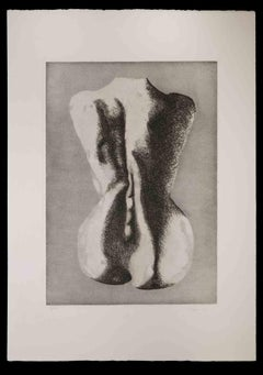Woman from the Back - Original Etching by Giacomo Porzano - 1972