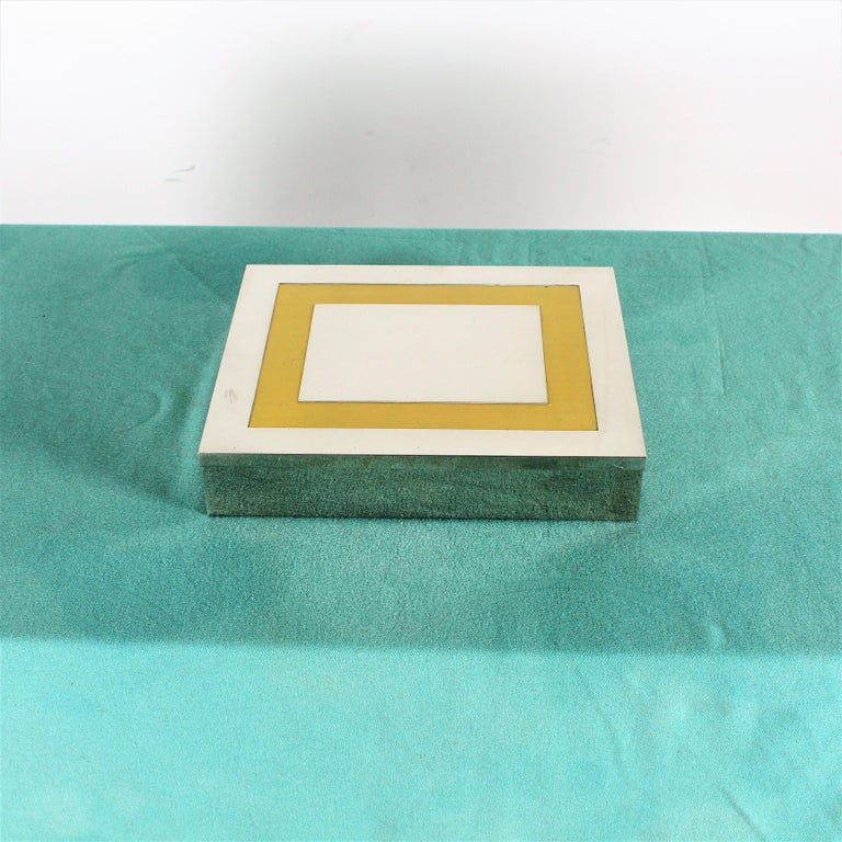 Elegant Italian chrome and brass jewelry box made by Liwan's and stamped
