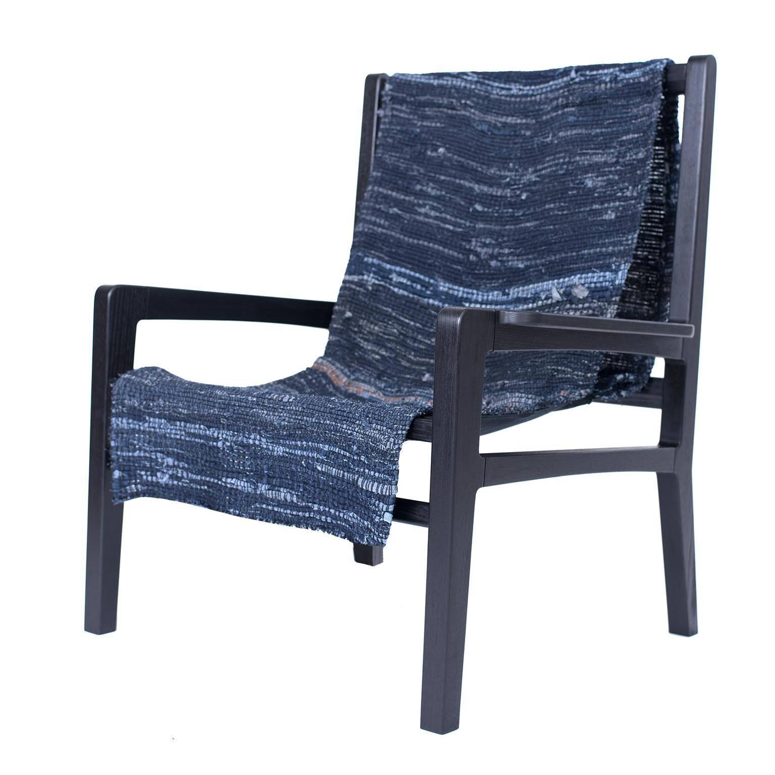 Giacomo Sling Chair, Blackened Ash and Woven Denim Seat