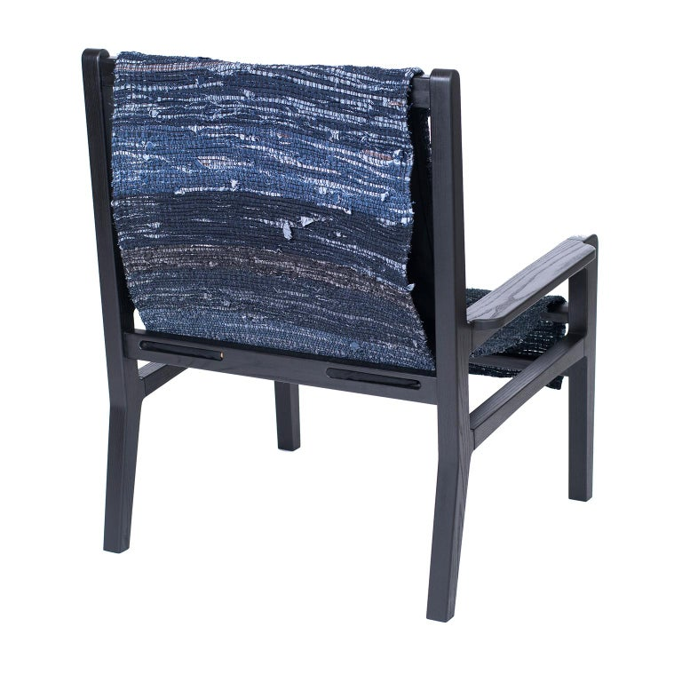 Giacomo Sling Chair, Blackened Ash and Woven Denim Seat 2
