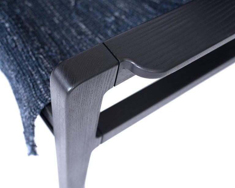 Giacomo Sling Chair, Blackened Ash and Woven Denim Seat 3