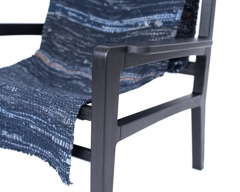 Giacomo Sling Chair, Blackened Ash and Woven Denim Seat 4
