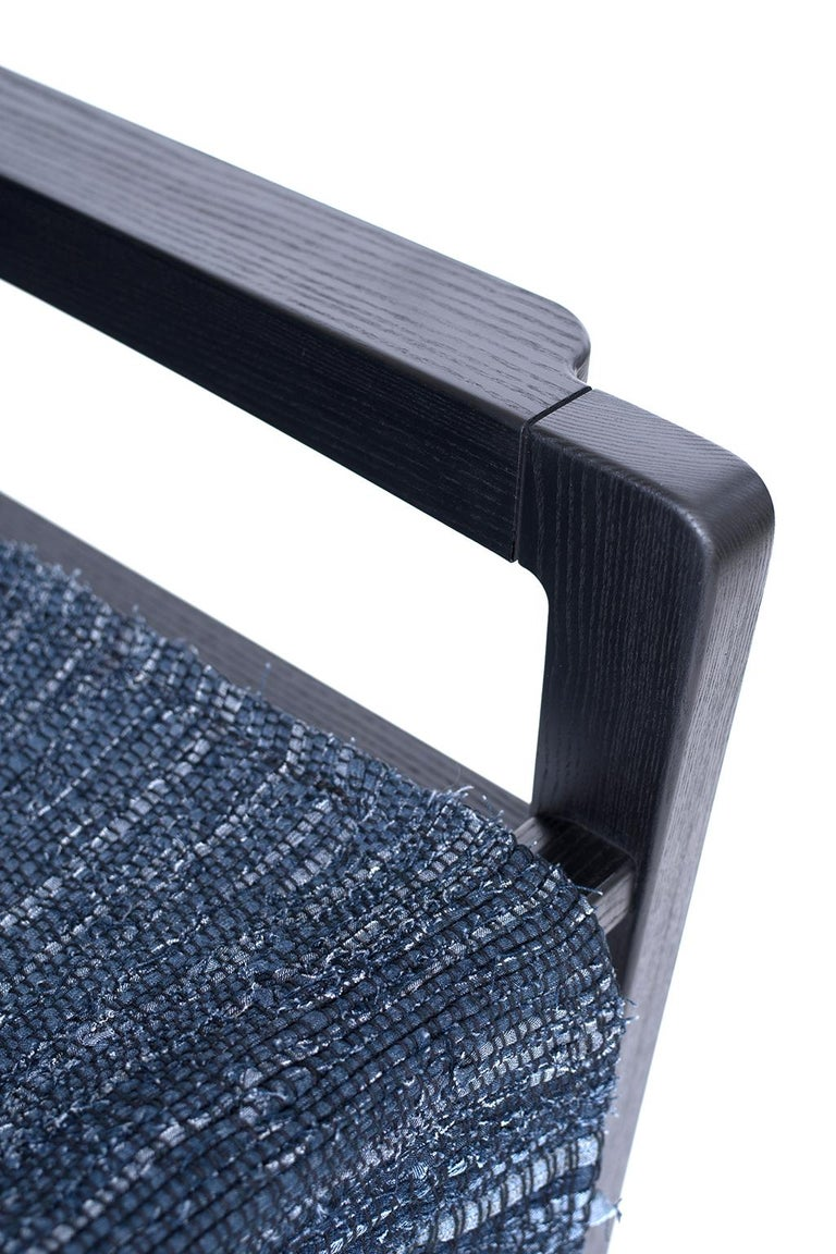 Giacomo Sling Chair, Blackened Ash and Woven Denim Seat 5