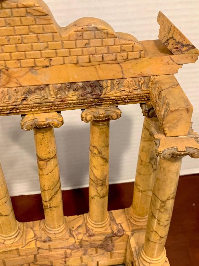 Giallo Antico Grand Tour Marble Model of the Temple of Saturn For Sale 4