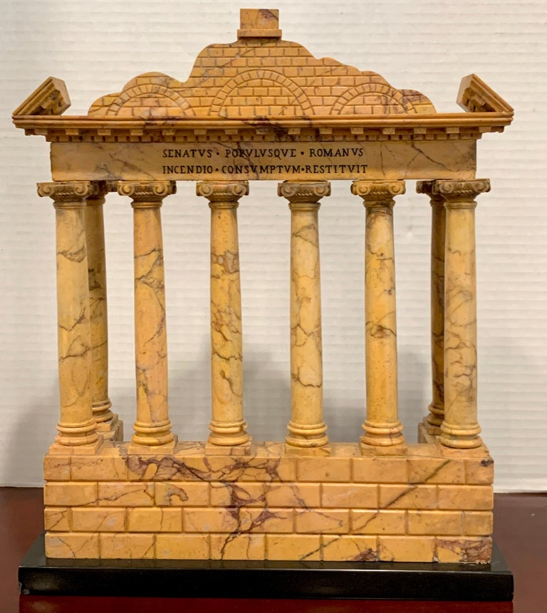 Italian Giallo Antico Grand Tour Marble Model of the Temple of Saturn For Sale