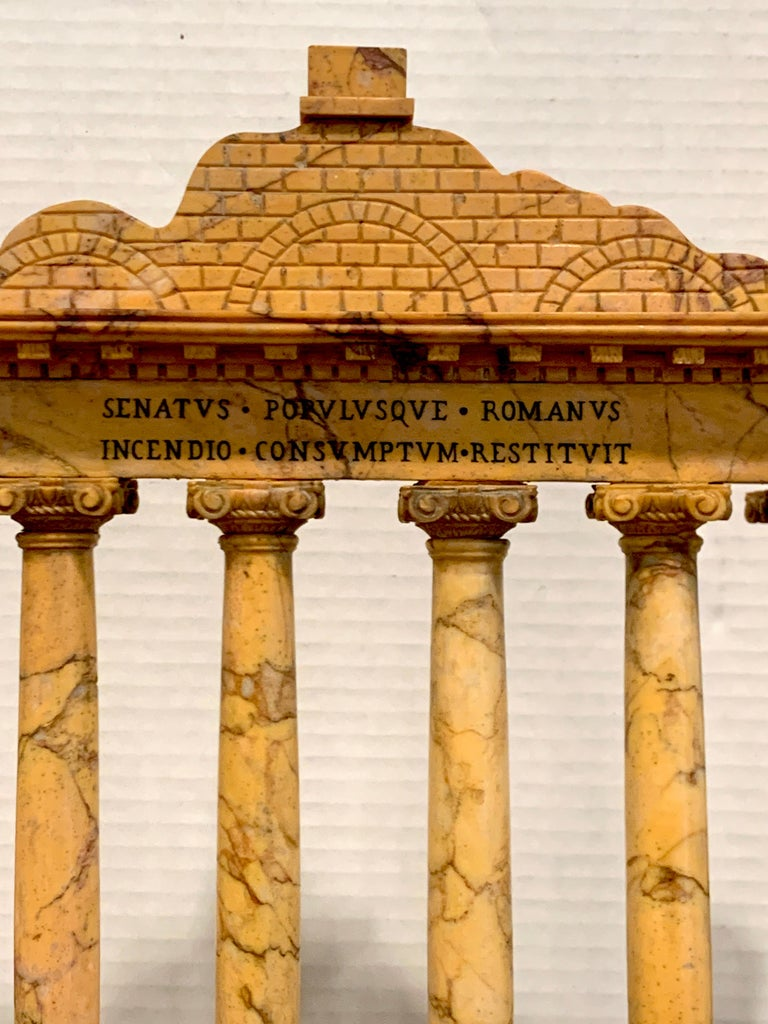 Carved Giallo Antico Grand Tour Marble Model of the Temple of Saturn For Sale