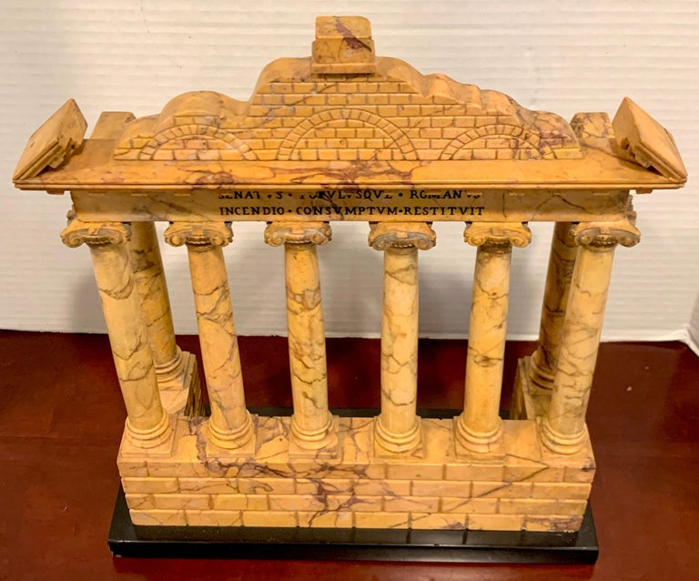 19th Century Giallo Antico Grand Tour Marble Model of the Temple of Saturn For Sale