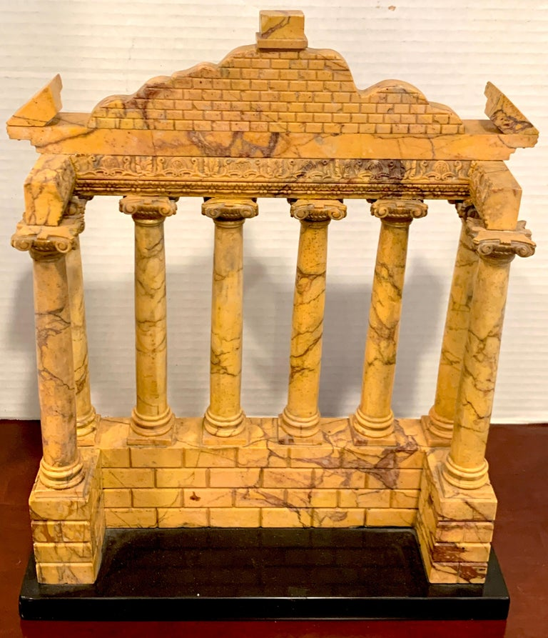 Giallo Antico Grand Tour Marble Model of the Temple of Saturn For Sale 2