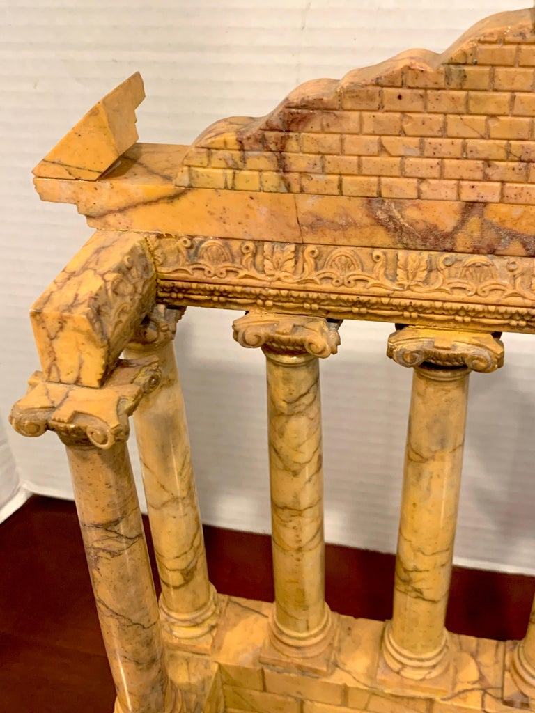 Giallo Antico Grand Tour Marble Model of the Temple of Saturn For Sale 3