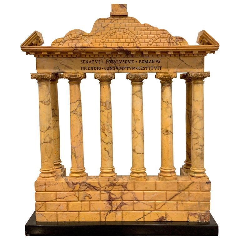 Giallo Antico Grand Tour Marble Model of the Temple of Saturn For Sale