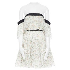 GIAMBATTISTA VALLI beige floral print silk pleated tiered off shoulder dress XXS