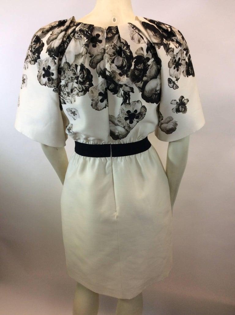 Gray Giambattista Valli Black and White Print Silk Dress For Sale