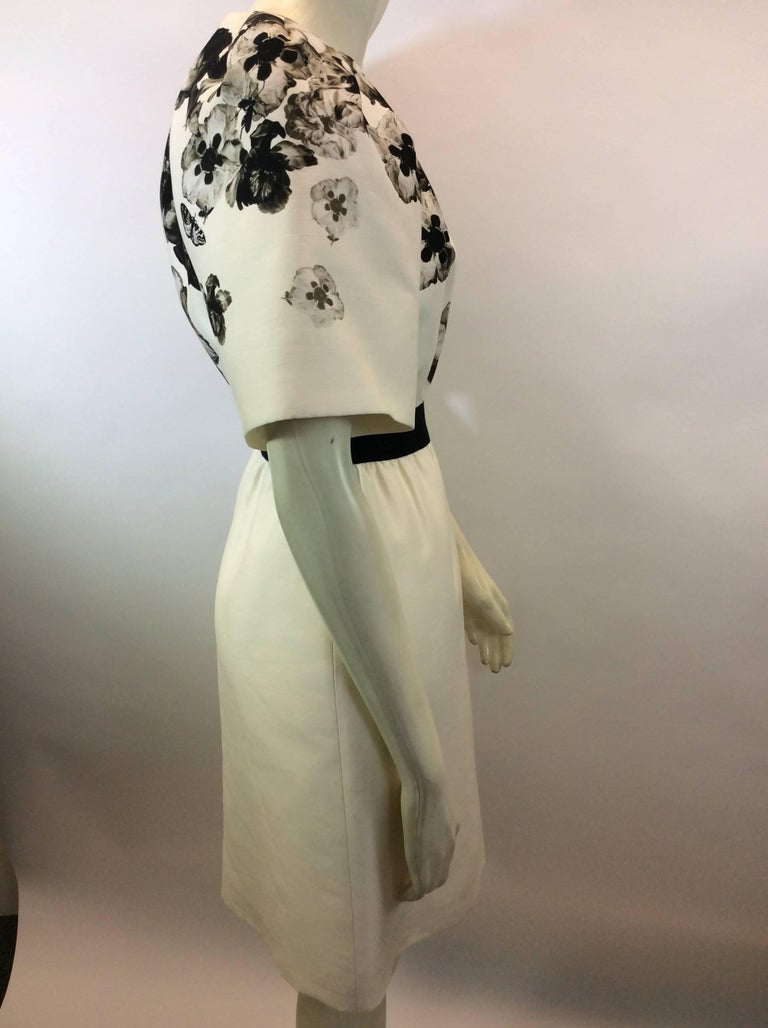 Giambattista Valli Black and White Print Silk Dress In Excellent Condition For Sale In Narberth, PA