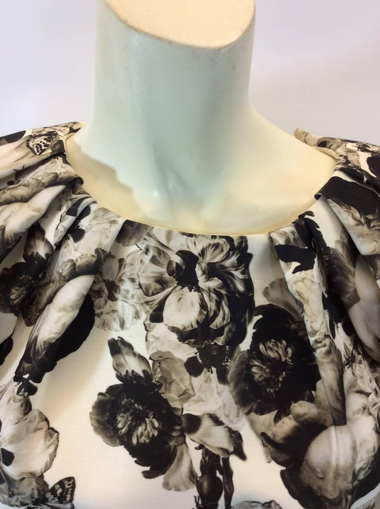 Women's Giambattista Valli Black and White Print Silk Dress For Sale