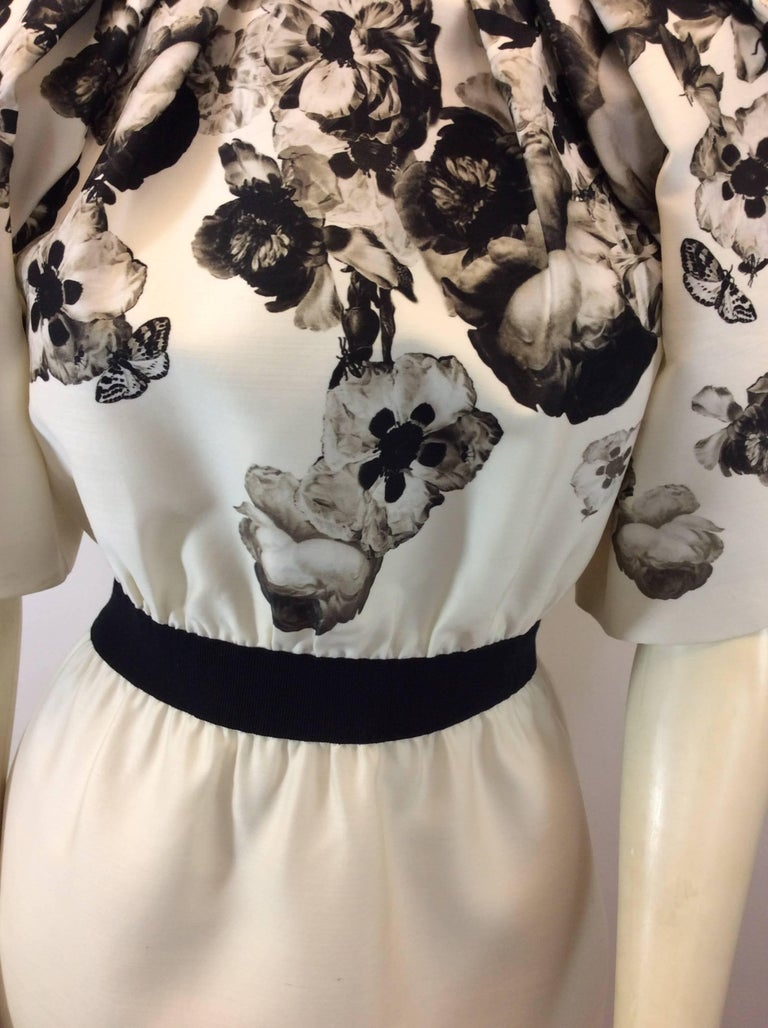 Giambattista Valli Black and White Print Silk Dress For Sale 1