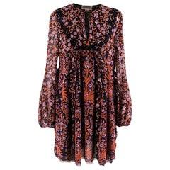 Giambattista Valli Black Floral Silk Mini-Dress - Size US 8