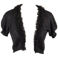 GIAMBATTISTA VALLI Black Silk and Linen CROPPED CARDIGAN Size 42