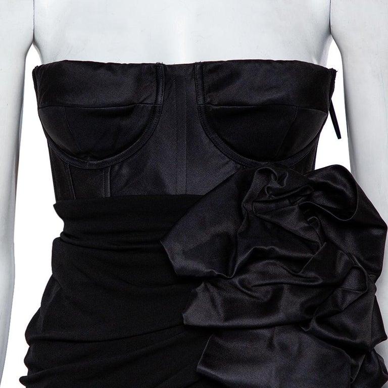 Giambattista Valli Black Silk Draped Bustier Detail Faux Wrap Gown S In Good Condition For Sale In Dubai, Al Qouz 2