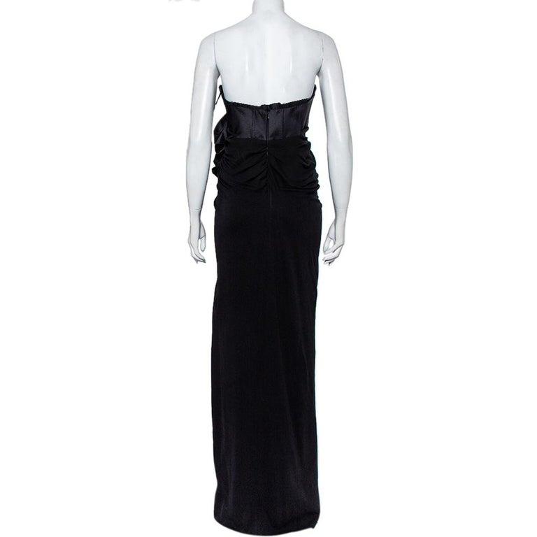 Women's Giambattista Valli Black Silk Draped Bustier Detail Faux Wrap Gown S For Sale