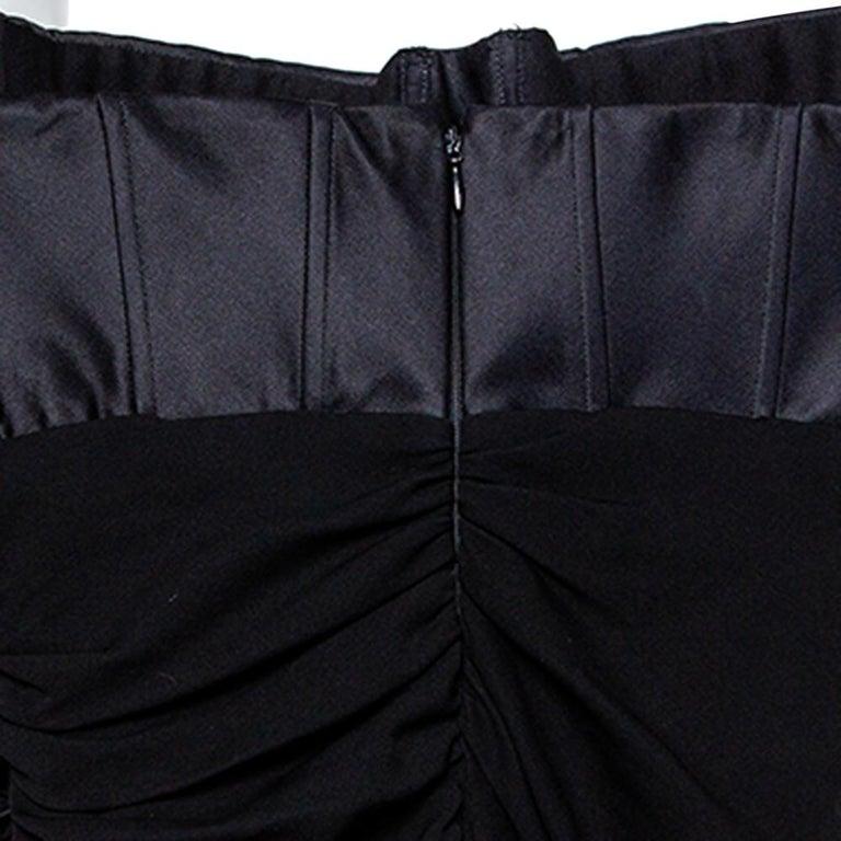 Giambattista Valli Black Silk Draped Bustier Detail Faux Wrap Gown S For Sale 1