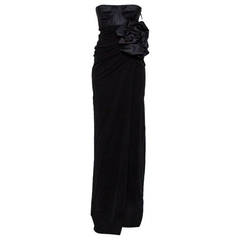 Giambattista Valli Black Silk Draped Bustier Detail Faux Wrap Gown S For Sale