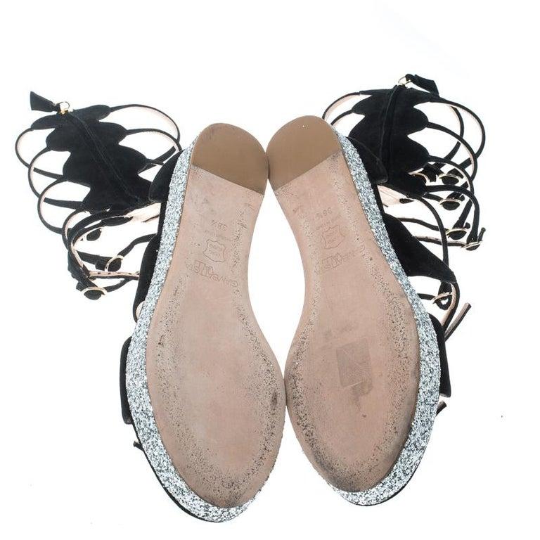 7d1466986 Giambattista Valli Black Suede Glitter Platform Flat Gladiator Sandals Size  38.5 For Sale 2