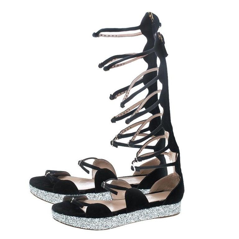 09cab8342 Giambattista Valli Black Suede Glitter Platform Flat Gladiator Sandals Size  38.5 For Sale 3