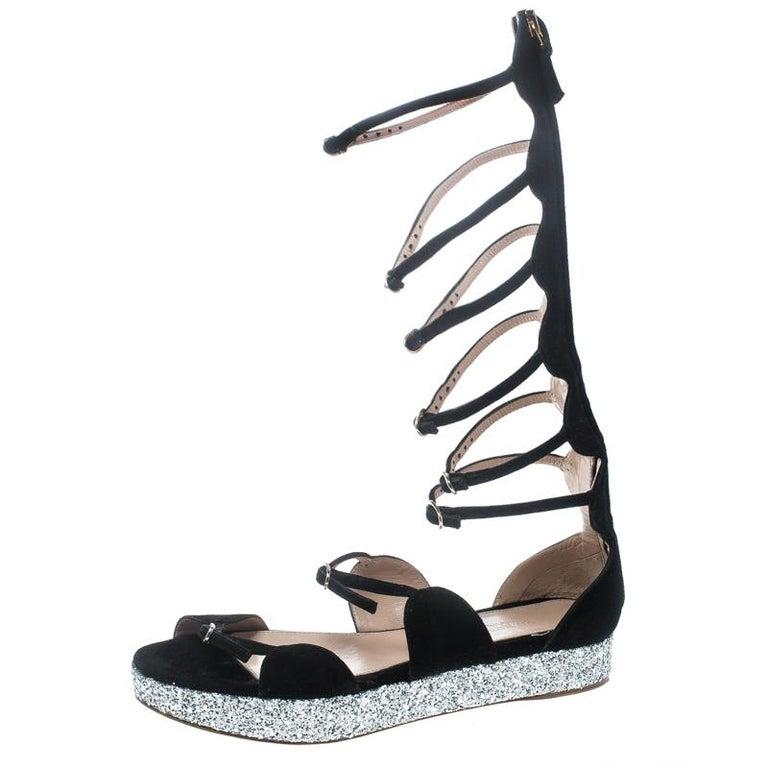 buy popular ad3d5 8b6f5 Giambattista Valli Black Suede Glitter Platform Flat Gladiator Sandals Size  38.5