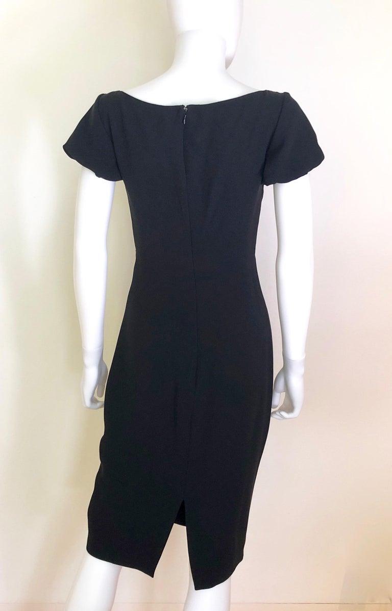 Giambattista Valli Black Sueded Silk Size 42/S Cocktail Dress w/ Princess Sleeve For Sale 6