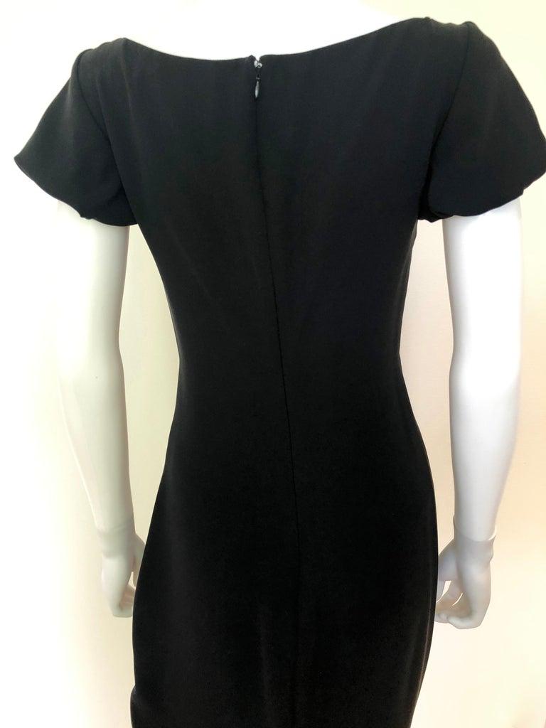 Giambattista Valli Black Sueded Silk Size 42/S Cocktail Dress w/ Princess Sleeve For Sale 7