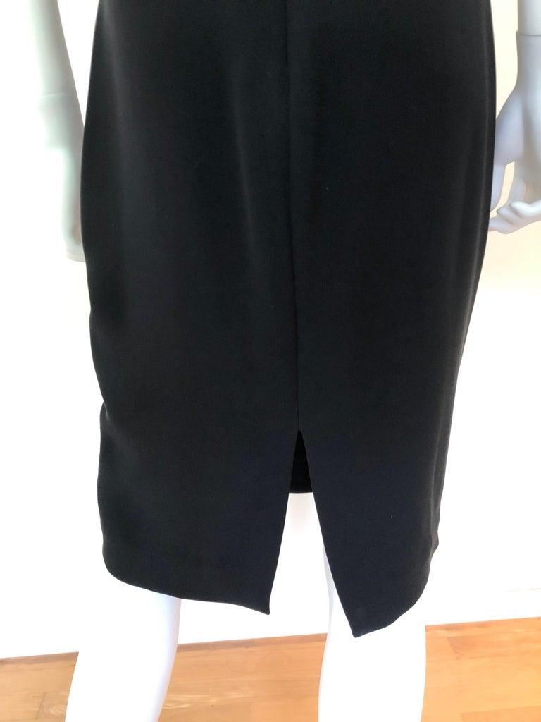 Giambattista Valli Black Sueded Silk Size 42/S Cocktail Dress w/ Princess Sleeve For Sale 8