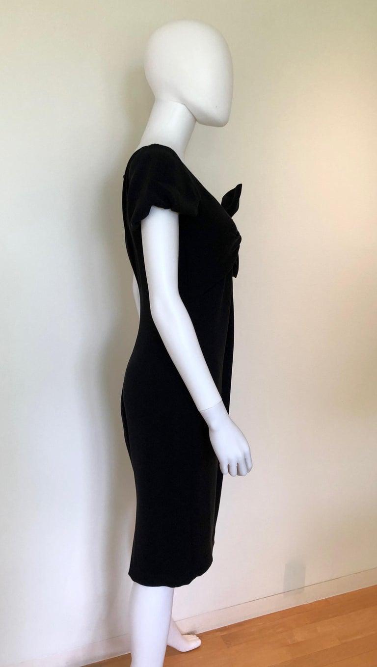Giambattista Valli Black Sueded Silk Size 42/S Cocktail Dress w/ Princess Sleeve For Sale 9