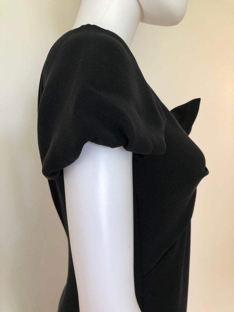 Giambattista Valli Black Sueded Silk Size 42/S Cocktail Dress w/ Princess Sleeve For Sale 10