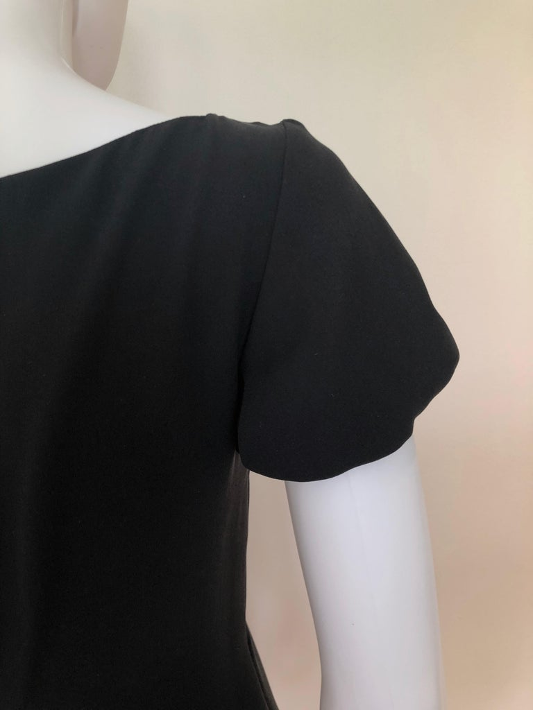 Giambattista Valli Black Sueded Silk Size 42/S Cocktail Dress w/ Princess Sleeve For Sale 13