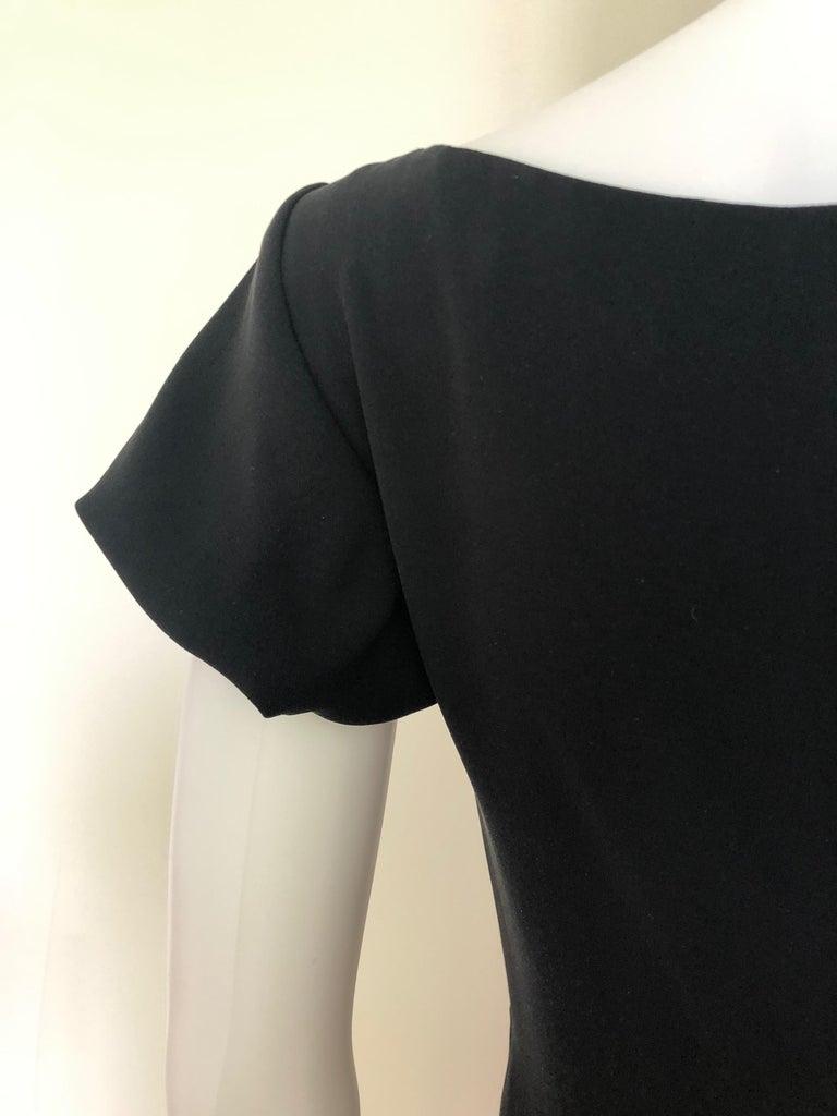 Giambattista Valli Black Sueded Silk Size 42/S Cocktail Dress w/ Princess Sleeve For Sale 14