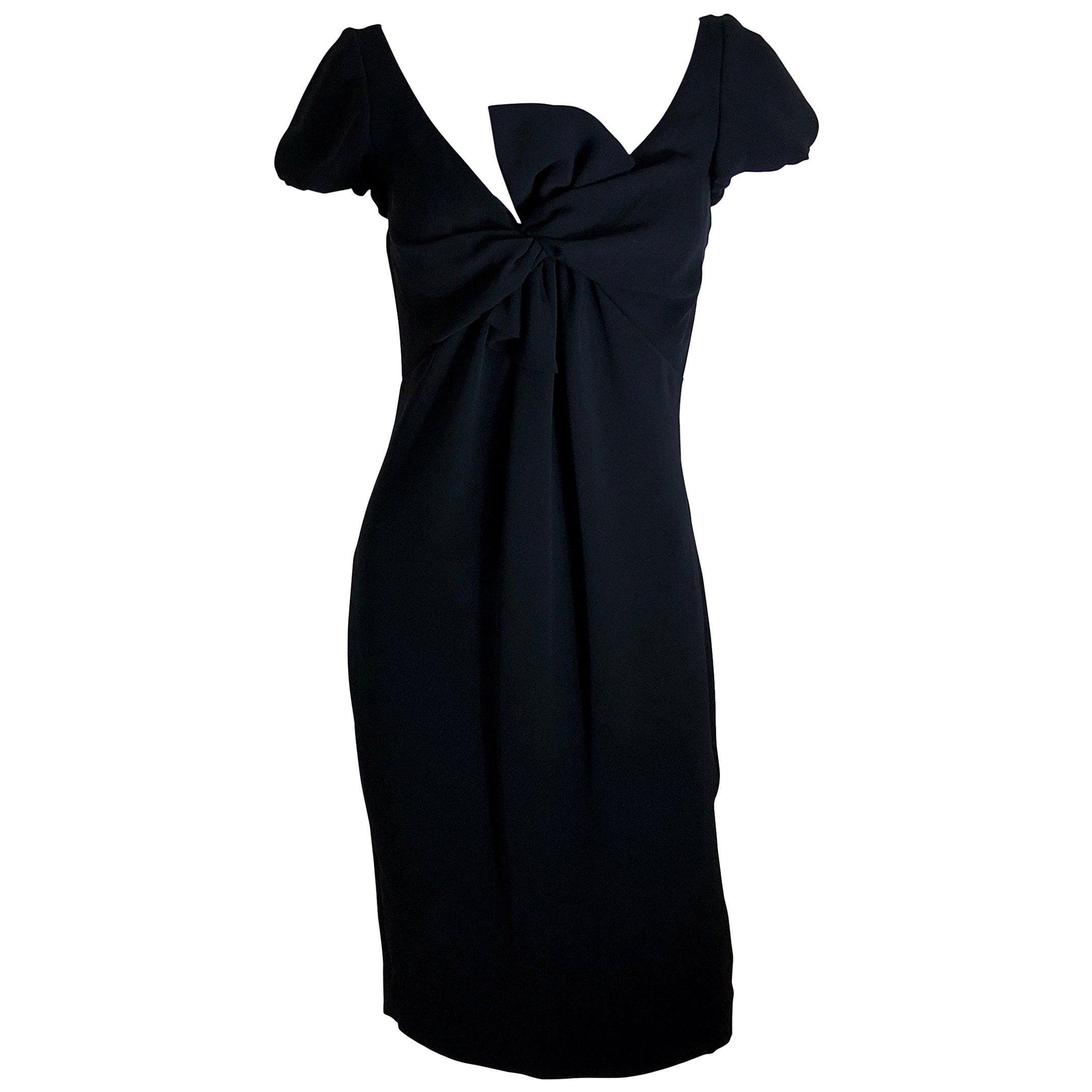 Giambattista Valli Black Sueded Silk Size 42/S Cocktail Dress w/ Princess Sleeve