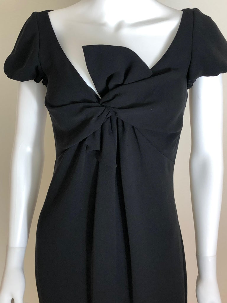 Giambattista Valli Black Sueded Silk Size 42/S Cocktail Dress w/ Princess Sleeve In Good Condition For Sale In Houston, TX