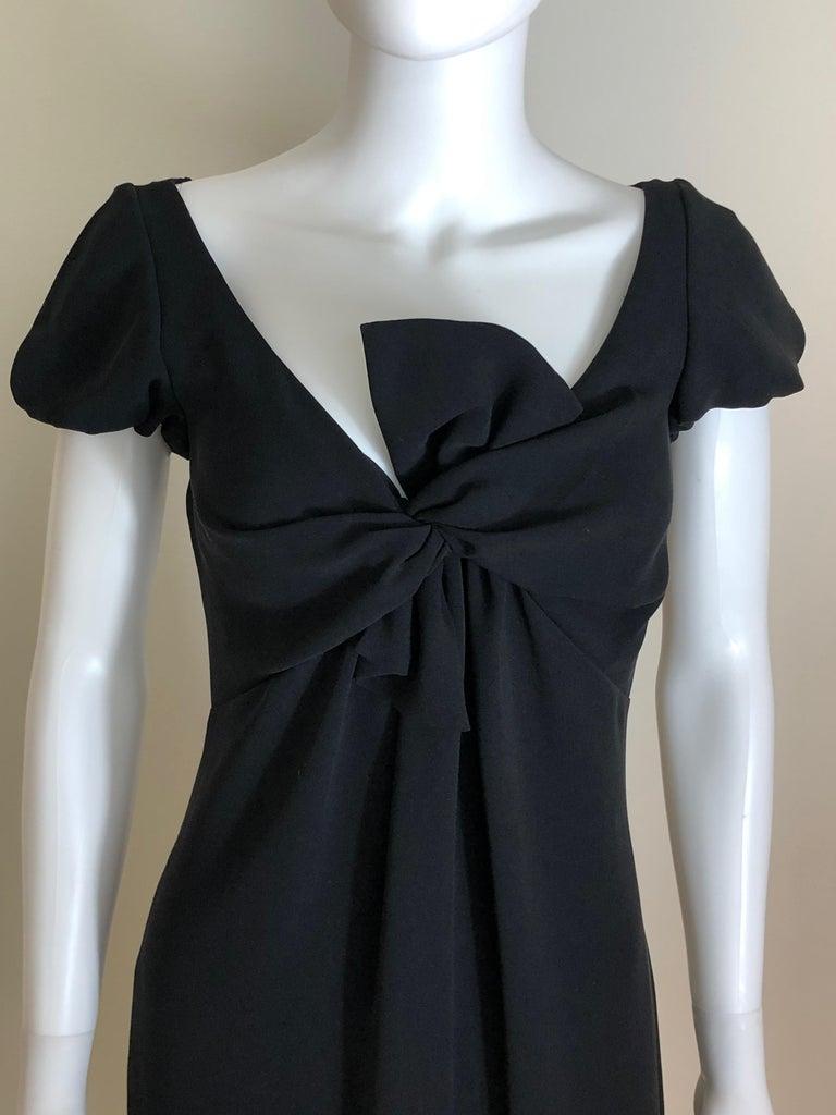 Women's Giambattista Valli Black Sueded Silk Size 42/S Cocktail Dress w/ Princess Sleeve For Sale