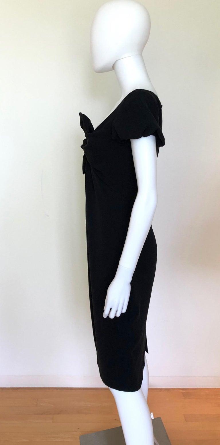 Giambattista Valli Black Sueded Silk Size 42/S Cocktail Dress w/ Princess Sleeve For Sale 2