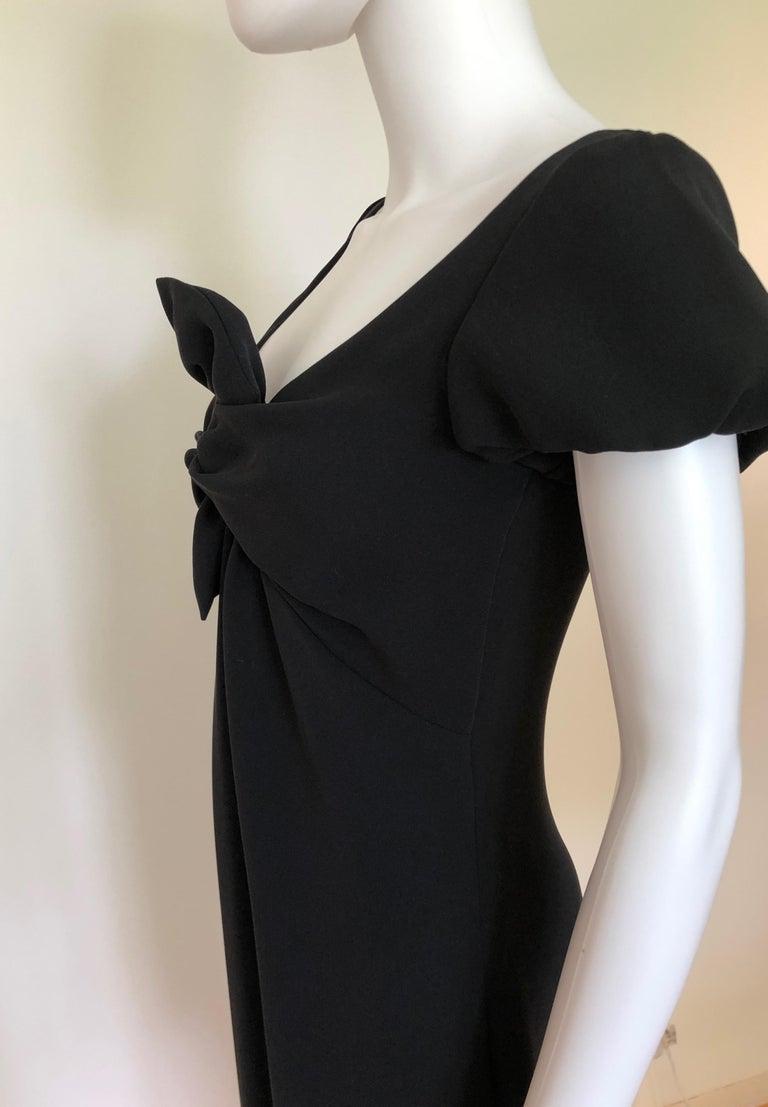 Giambattista Valli Black Sueded Silk Size 42/S Cocktail Dress w/ Princess Sleeve For Sale 3