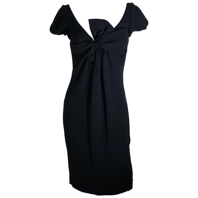 Giambattista Valli Black Sueded Silk Size 42/S Cocktail Dress w/ Princess Sleeve For Sale