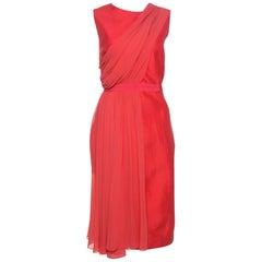 Giambattista Valli Coral Pink Silk Drape Detail Sheath Dress M