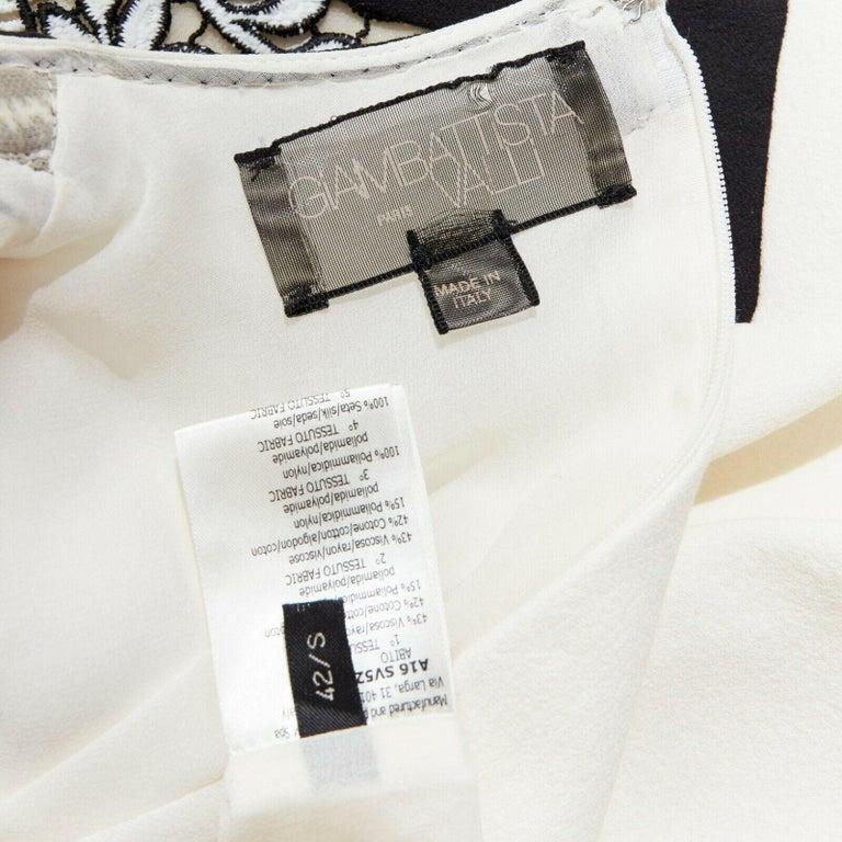 GIAMBATTISTA VALLI cream crepe floral lace window detail puff sleeve dress IT42 For Sale 6