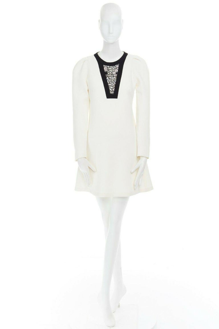 Gray GIAMBATTISTA VALLI cream crepe floral lace window detail puff sleeve dress IT42 For Sale