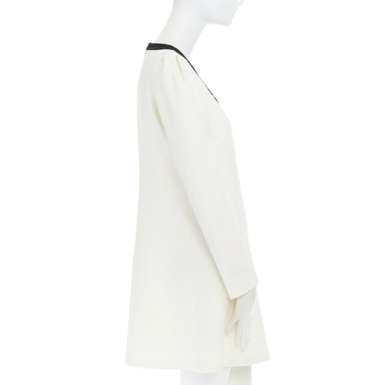 GIAMBATTISTA VALLI cream crepe floral lace window detail puff sleeve dress IT42 In Excellent Condition For Sale In Hong Kong, NT