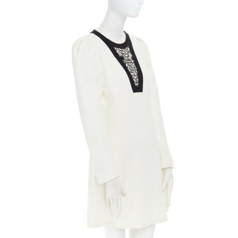 Women's GIAMBATTISTA VALLI cream crepe floral lace window detail puff sleeve dress IT42 For Sale