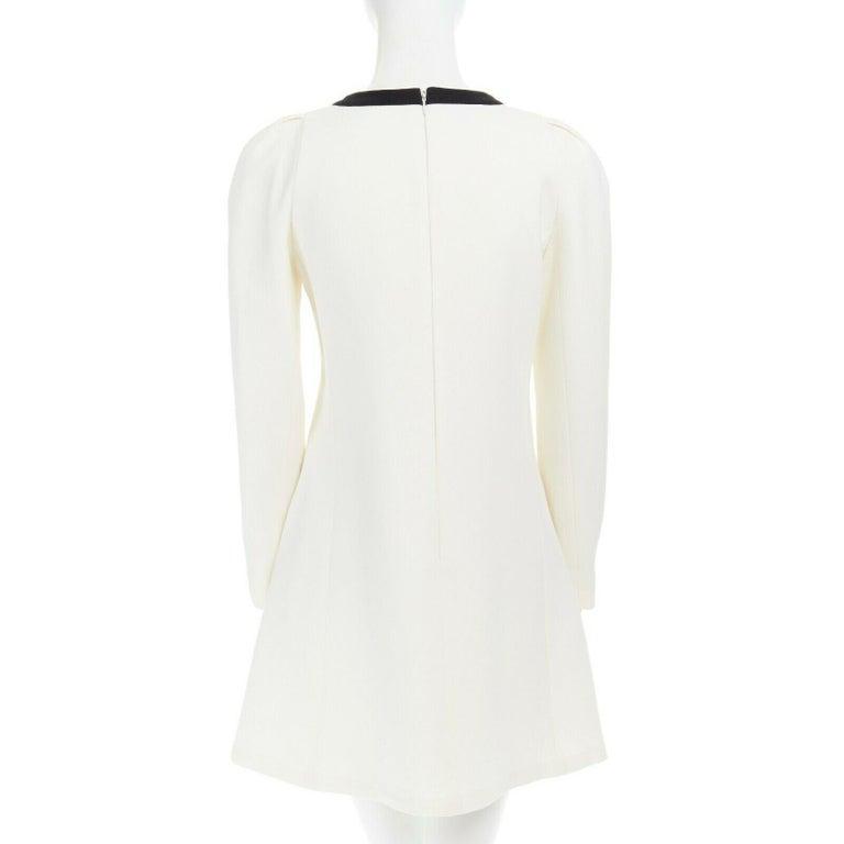 GIAMBATTISTA VALLI cream crepe floral lace window detail puff sleeve dress IT42 For Sale 1